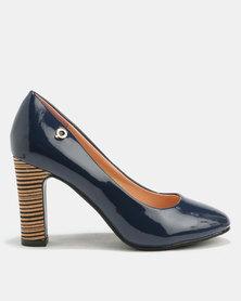 Bronx Women Tanya Block Heel Court Shoe Navy