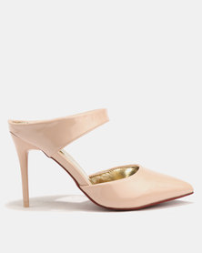 Sissy Boy Pointy 2 Part Heeled Slip-On Nude