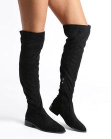Sissy Boy Over The Knee Flat Boots Black