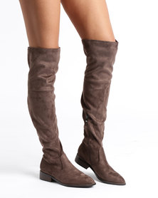 Sissy Boy Over The Knee Flat Boots Taupe