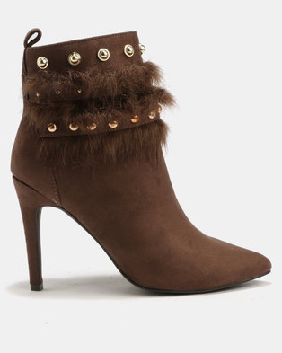 d3dc375f3275 Sissy Boy Studded Faux Fur Trim Heeled Ankle Boot Taupe