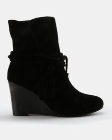Julz Kaylee Suede Wedge Boot With Tassel Detail Black