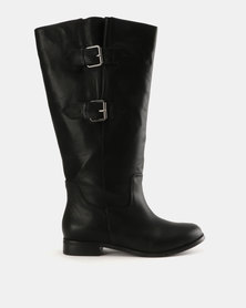 Julz Abigail Leather Adjustable Mid Calf Riding Boots Black