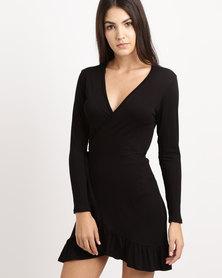 Rustiq Fae Frill Wrap Dress Black