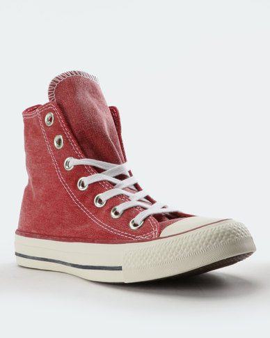 c951ab6b5b56 Converse Chuck Taylor All Star Stone Wash High Top Sneakers Enamel  Red White