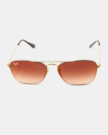 Ray-Ban Gradient Lens Sunglasses Gold With Brown