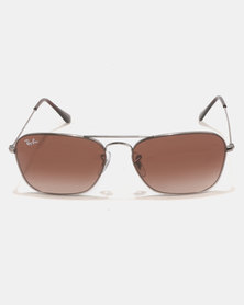 Ray-Ban Gunmetal With Brown Gradient Lens Sunglasses Brown