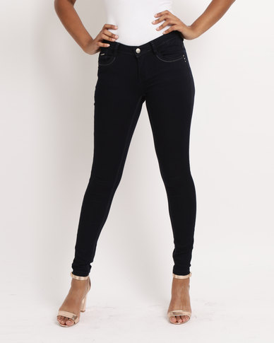 Sissy Boy Jon Low-Rise Basic Skinny Jeans Navy Blue