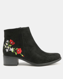 Utopia Embroidered Ankle Boots Black