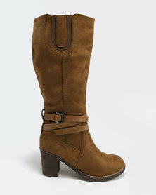 Utopia Suedette Knee High Boots Taupe