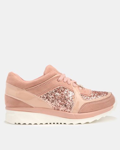Sissy Boy Lost Stars Suede And Glitter Sneakers Dusty Pink