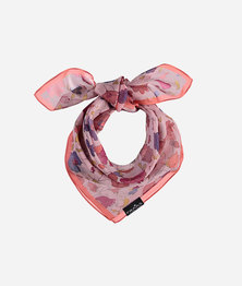 FRAAS Women Floral Retro Print Scarf Silk Chiffon Multicolour Coral