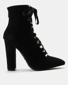 ZOOM Debbie Lace Up Heeled Ankle Boots Black