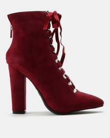 ZOOM Debbie Lace Up Heeled Ankle Boots Burgundy
