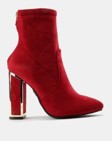 ZOOM Carmen Block Heel Ankle Boots Red