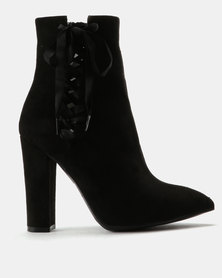 ZOOM Max Ribbon Detail Block Heel Ankle Boots Black