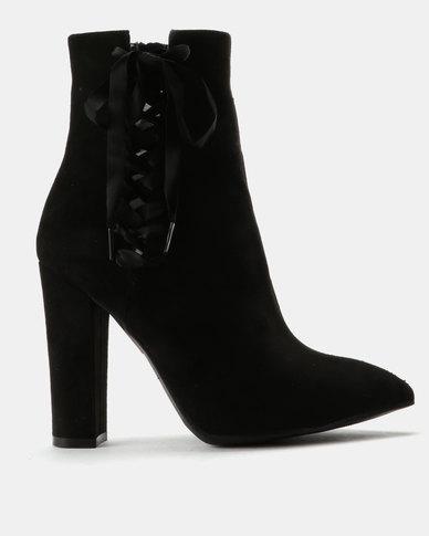 2db0c36a75 ZOOM Max Ribbon Detail Block Heel Ankle Boots Black | Zando