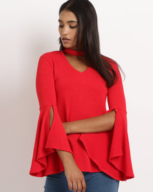 Revenge Choker Neck With Frill Sleeve Top Red