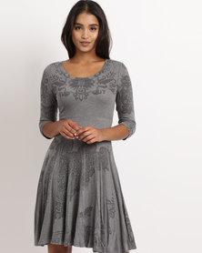 Revenge Printed Dress Grey
