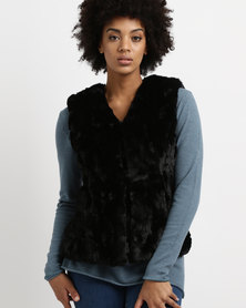G Couture Sleeveless Faux Fur Jacket Black