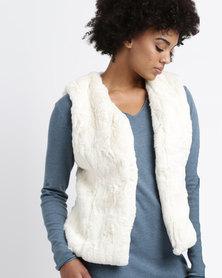 G Couture Sleeveless Fur Jacket Milk