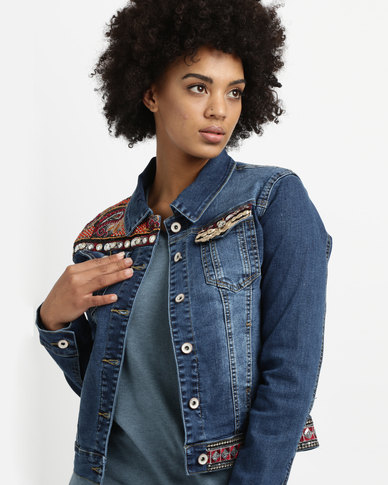 G Couture Denim Jacket With Embroidered Tape Blue