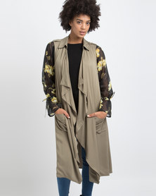 G Couture Sleeveless Waterfall Trench Throwover Olive