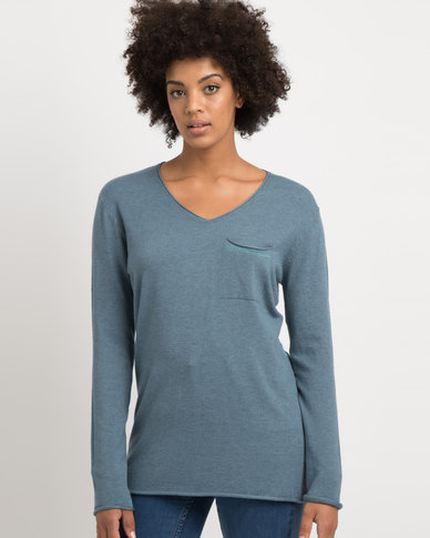 G Couture V-neck Jersey With Mesh Insets Blue