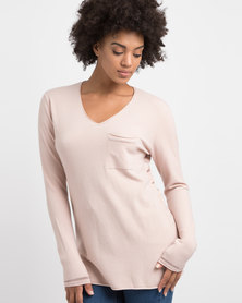 G Couture V-neck Jersey With Mesh Inserts Pink