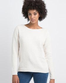 G Couture Chenille Knitwear Jumper Milk White