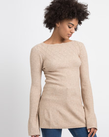 G Couture Detail Neck Knitted Jumper Oatmeal
