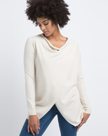 G Couture Draped Front Cross Over Jumper Oatmeal