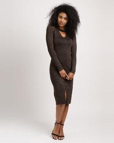 G Couture Lurex Choker Dress Copper/Black