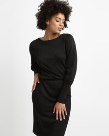 G Couture Boatneck Lurex Knitwear Dress Black