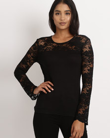 Utopia  Long Sleeve Lace Top Black
