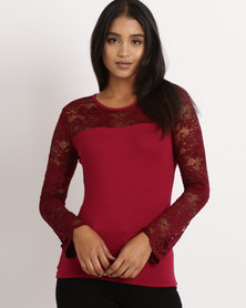 Utopia  Long Sleeve Lace Top Burgundy