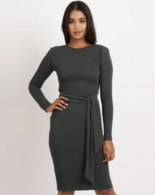 Utopia Long Sleeve Tie Front Dress Forest Green