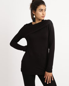 Slick Wrap Neckline Long Sleeve Top Black