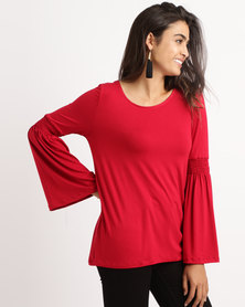 Slick Bell Sleeve Top Red