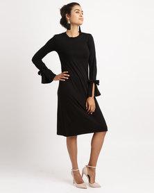 Slick Long Sleeve Ties Detail Dress Black