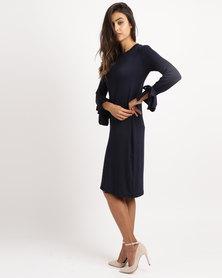 Slick Long Sleeve Ties Detail Dress Navy