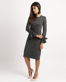 Slick Long Sleeve Ties Detail Dress Dark Grey