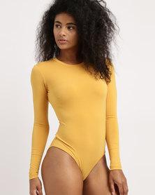 Paige Smith Long Sleeve Bodysuit Mustard