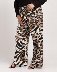 Queenspark Plus Tiger Printed Knit Pants Natural