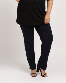 Pull On Beaded Stretch Woven Pants Navy