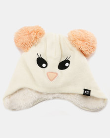 Rip Curl Mini Girls Animal Beanie Cream & Peach