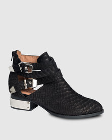 Jeffrey Campbell Everly-PL Ankle Booties Black Snake