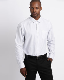 Process Black Long Sleeve Button Through Printed Shirt White & Black