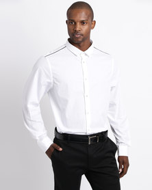 Process Black Long Sleeve Button Through Shirt With Shoulder Detail White