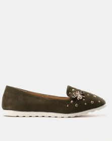 Miss Black Catrin Flat Shoe Olive